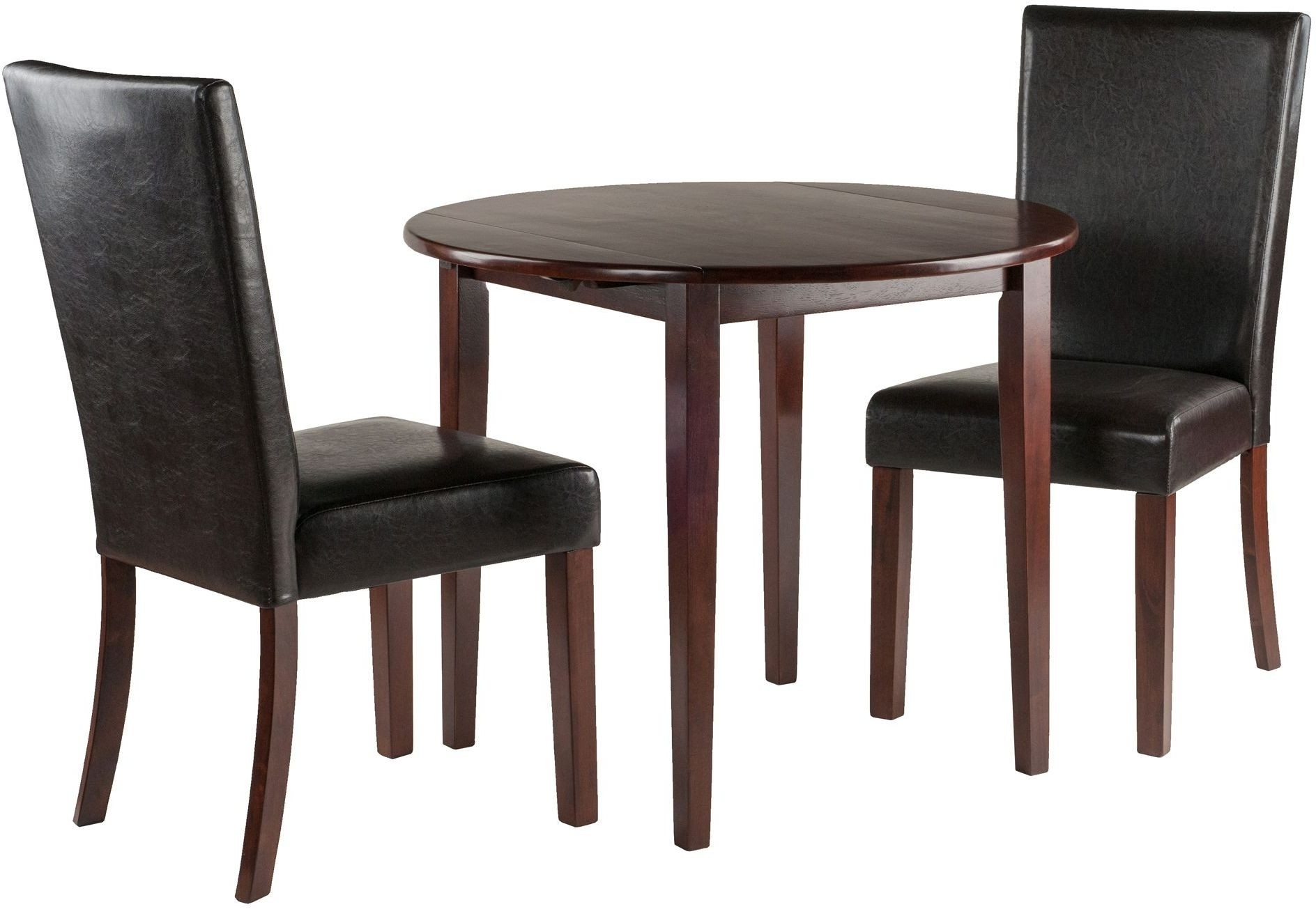 Famous Caden 6 Piece Dining Sets With Upholstered Side Chair For Clayton Walnut 3 Piece Drop Leaf Dining Set With 2 Upholstered (View 13 of 25)