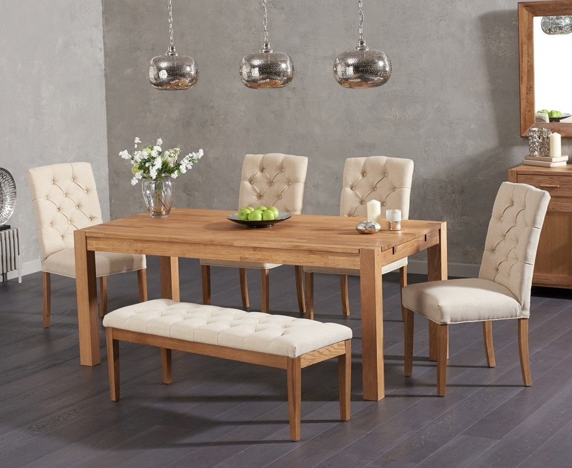 Famous Candice Ii Extension Rectangle Dining Tables For Verona 150Cm Solid Oak Dining Table With Candice Fabric Chairs And (View 10 of 25)