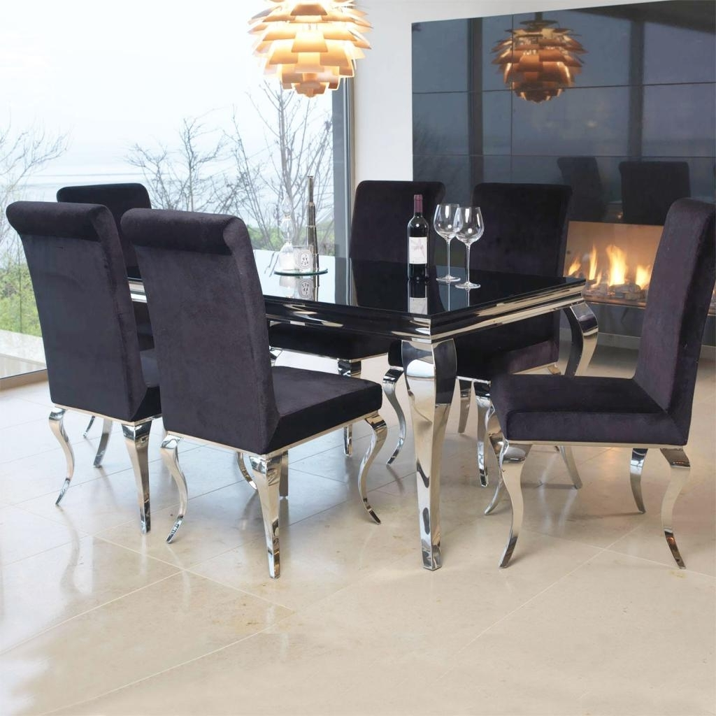 Famous Chrome Dining Room Chairs In Louis Contemporary Black Or White Glass Chrome  (View 17 of 25)