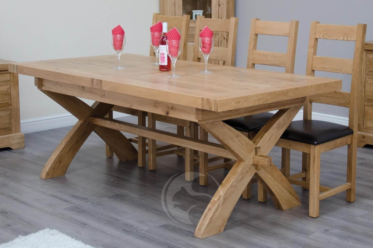 Famous Coniston Rustic Solid Oak X Leg Extending Dining Table (View 8 of 25)