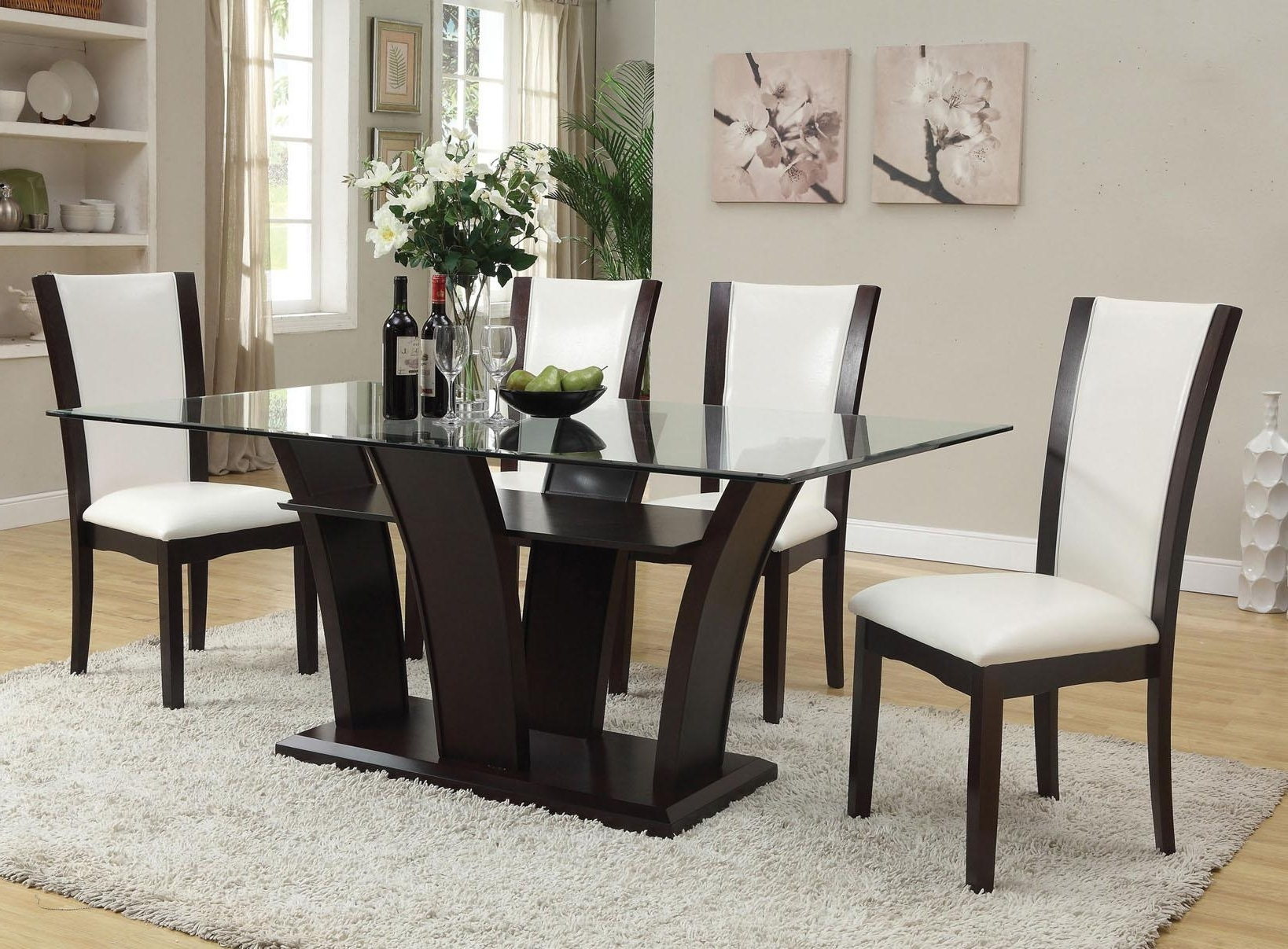Famous Contemporary Dining Tables Sets For Acme Furniture Malik Contemporary Casual Dining Table W/ Glass Top (View 2 of 25)