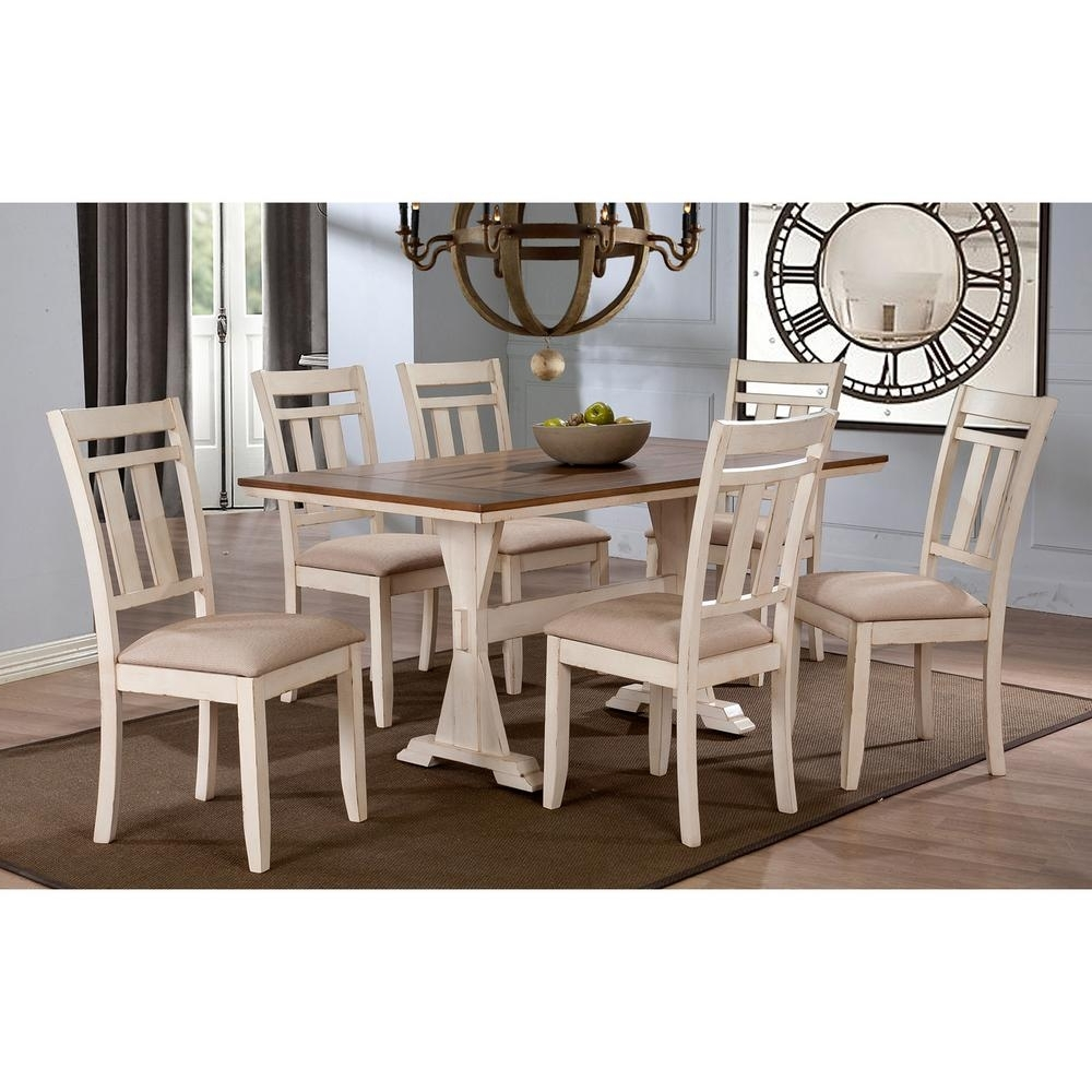Famous Craftsman 7 Piece Rectangle Extension Dining Sets With Uph Side Chairs For Baxton Studio Roseberry 7 Piece Beige Fabric And Distressed Wood (View 10 of 25)
