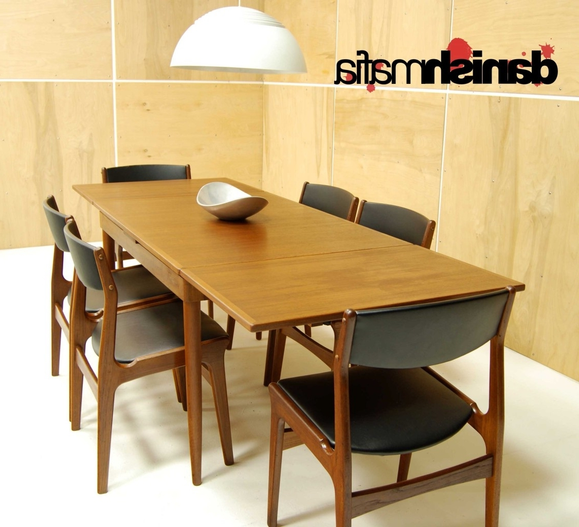 Famous Danish Dining Tables Intended For Mid Century Danish Modern Teak Dining Complete Set Table & 6 Chairs (View 16 of 25)