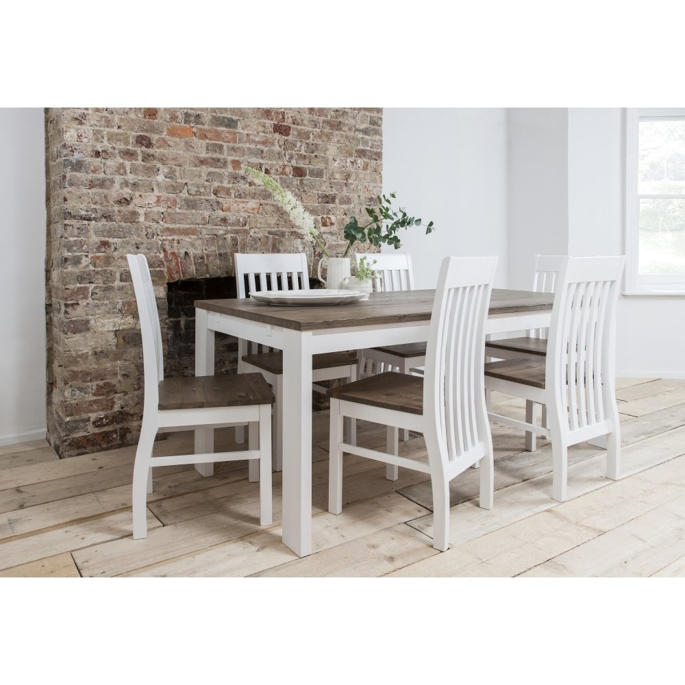 Famous Dark Wood Dining Tables 6 Chairs Within Hever Dining Table With 6 Chairs In White And Dark Pine (View 14 of 25)