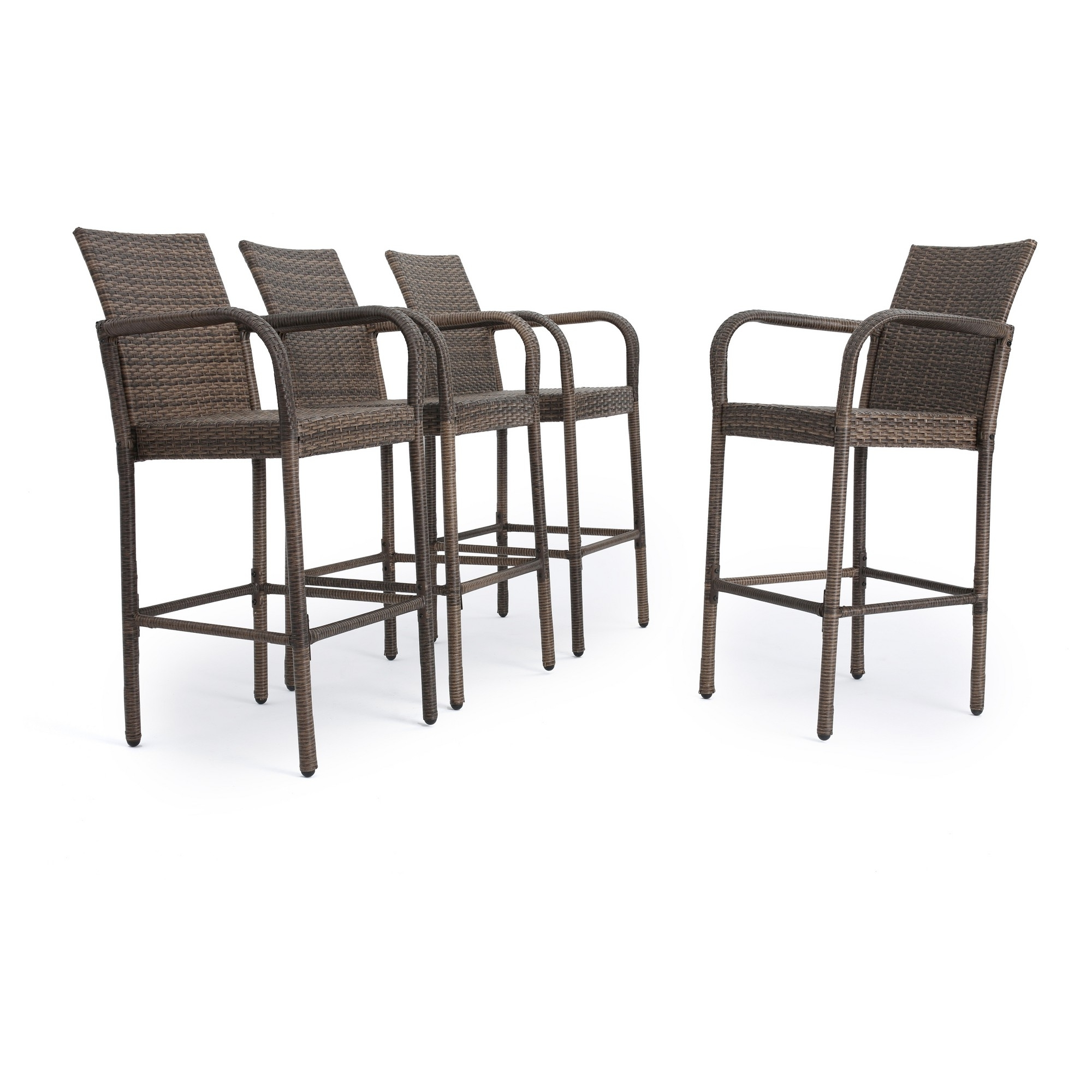Famous Delfina Dining Tables Throughout Delfina Set Of 4 Wicker Barstool – Mix Mocha – Christopher Knight (View 16 of 25)