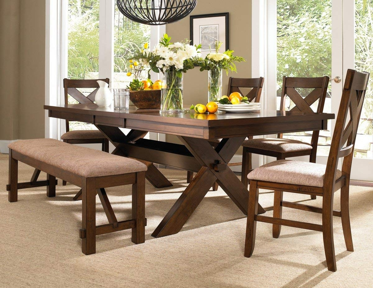 Famous Dining Tables And Chairs Sets Within Amazon – Roundhill Furniture Karven 6 Piece Solid Wood Dining (View 13 of 25)