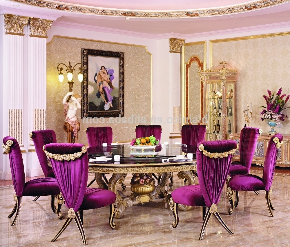 Famous Dining Tables And Purple Chairs In Luxury Wood Carving Round Dining Table For 10 People With Purple (View 13 of 25)