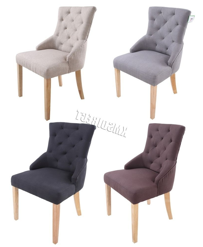 Famous Ebay Dining Chairs For Westwood New Linen Fabric Dining Chairs Scoop Tufted Back Office (View 8 of 25)