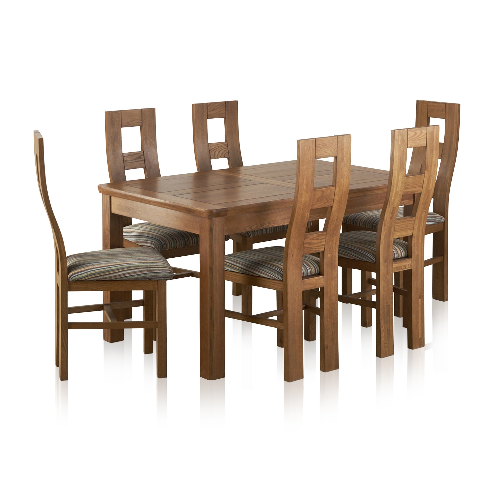 Famous Extendable Dining Table And 6 Chairs With Orrick Extending Dining Set In Rustic Oak: Table + 6 Beige Chairs (View 12 of 25)