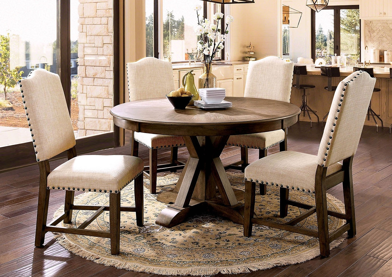 Famous Furniture Fashions Julia Light Oak Round Dining Table Regarding Oak Round Dining Tables And Chairs (View 9 of 25)