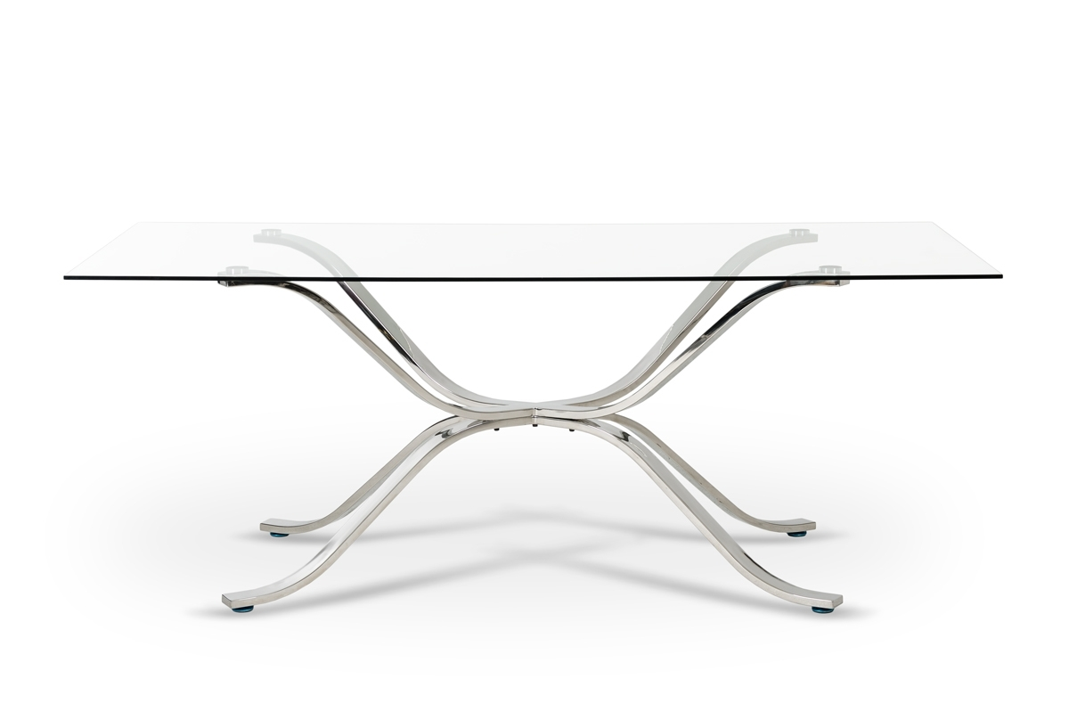 Famous Glass And Stainless Steel Dining Tables Pertaining To Modrest Adderley Modern Stainless Steel W/ Glass Top Dining Table (View 6 of 25)