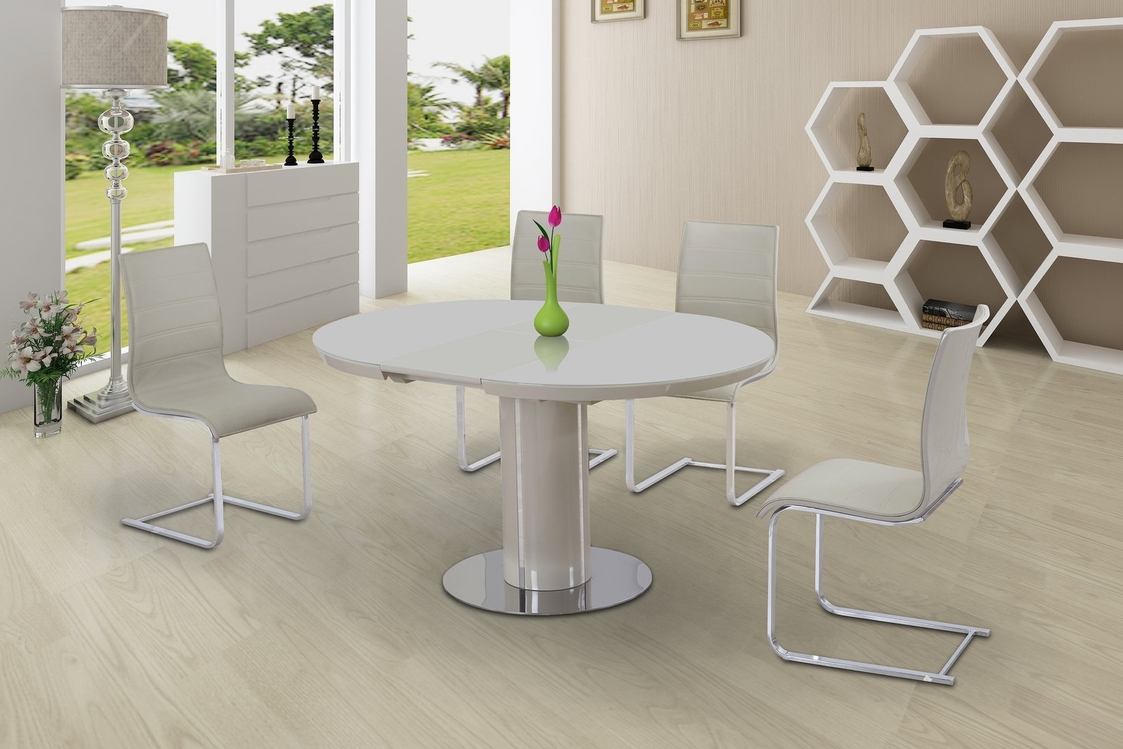 Famous Gloss Dining Tables And Chairs Regarding Round Cream Glass High Gloss Dining Table & 4 Chairs – Homegenies (View 3 of 25)