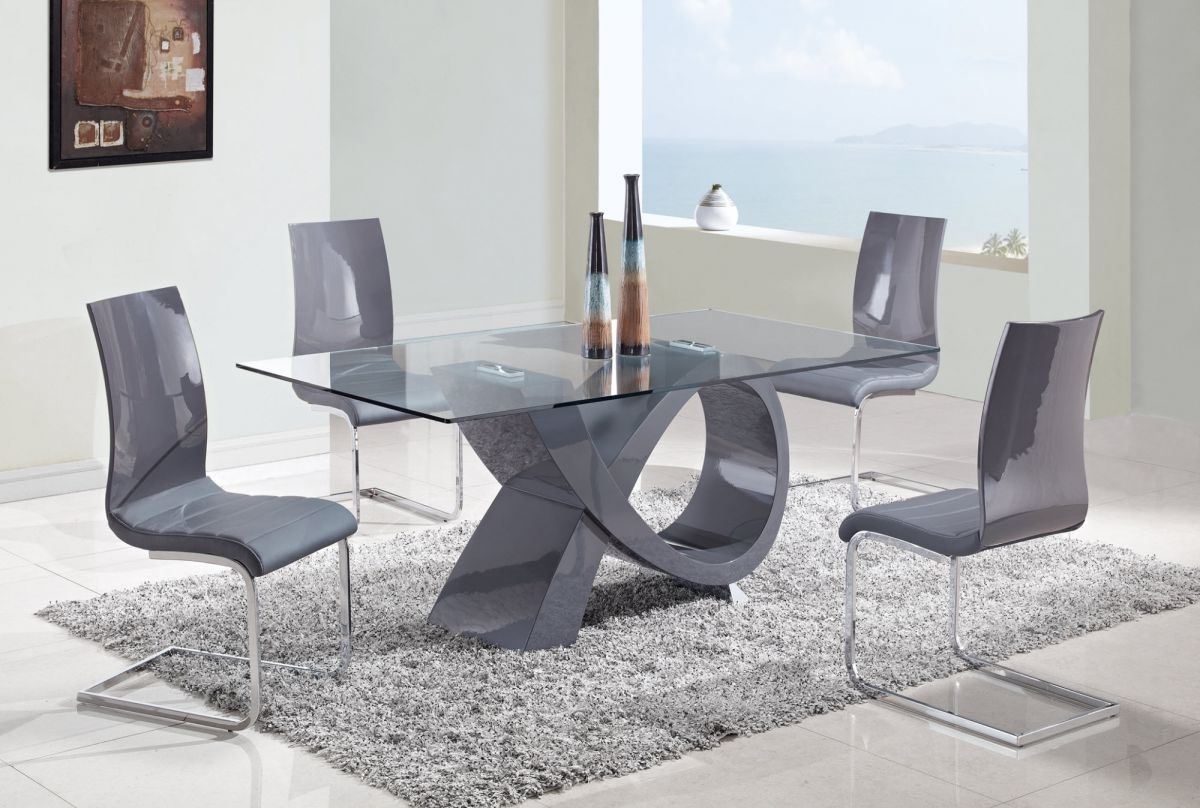 Famous Grey Gloss Dining Tables Throughout Grey Dining Room Table And Chairs (View 8 of 25)