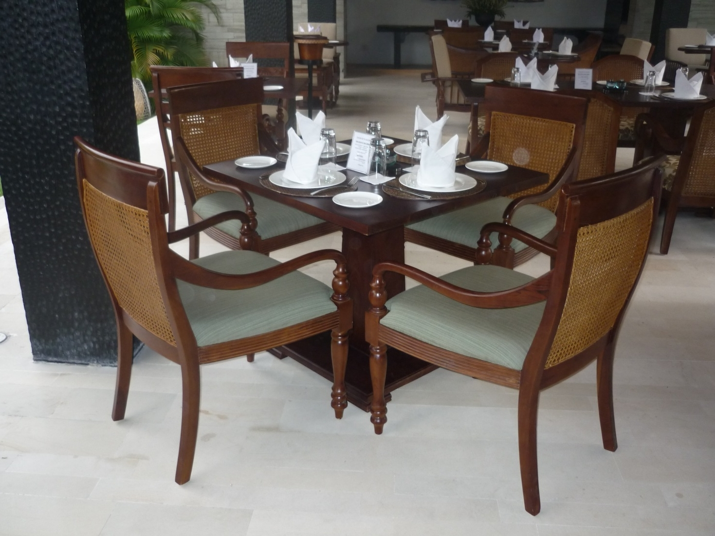 Famous Hospitality : Colonial Style Square Dining Table And Single Armchair Within Balinese Dining Tables (View 2 of 25)