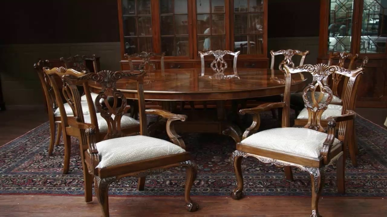 Famous Huge Round Dining Tables With Regard To Large Round Dining Table And Chairs – Youtube (View 14 of 25)