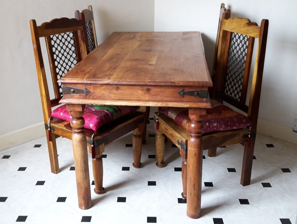 Famous Indian Style Dining Tables For Indian Sheesham Dining Table And 4 Chairs Plus 4 Indian Style (View 4 of 25)