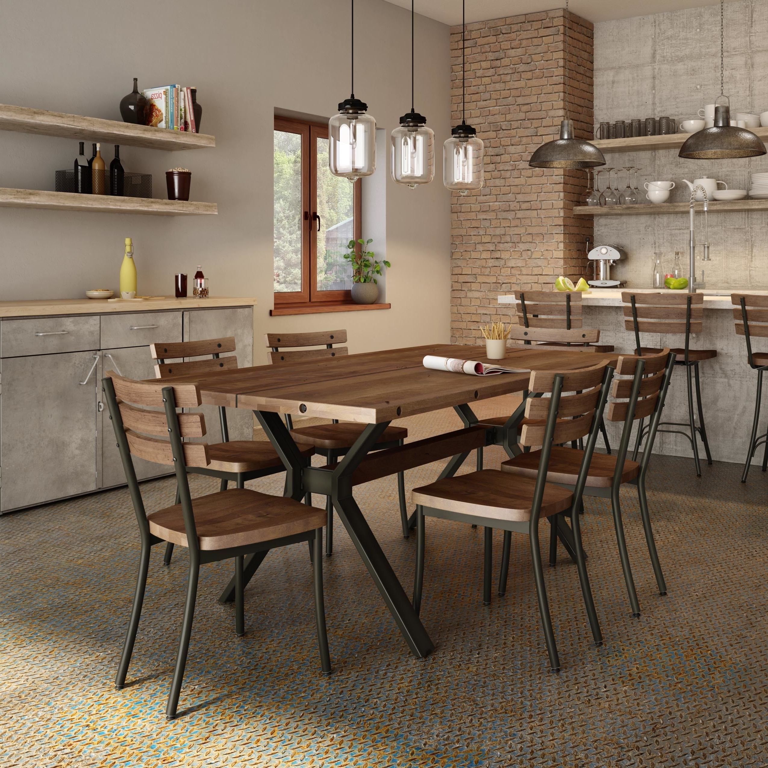Famous Laurent 5 Piece Round Dining Sets With Wood Chairs Pertaining To 17 Stories Darcelle 5 Piece Industrial Dining Set (View 12 of 25)
