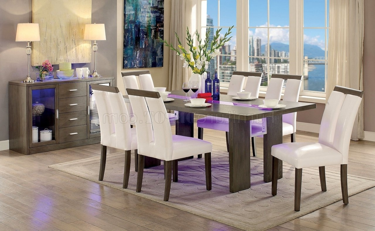 Famous Led Dining Tables Lights Intended For Luminar Cm3559T Dining Table W/led Lights In Gray W/options (View 15 of 25)