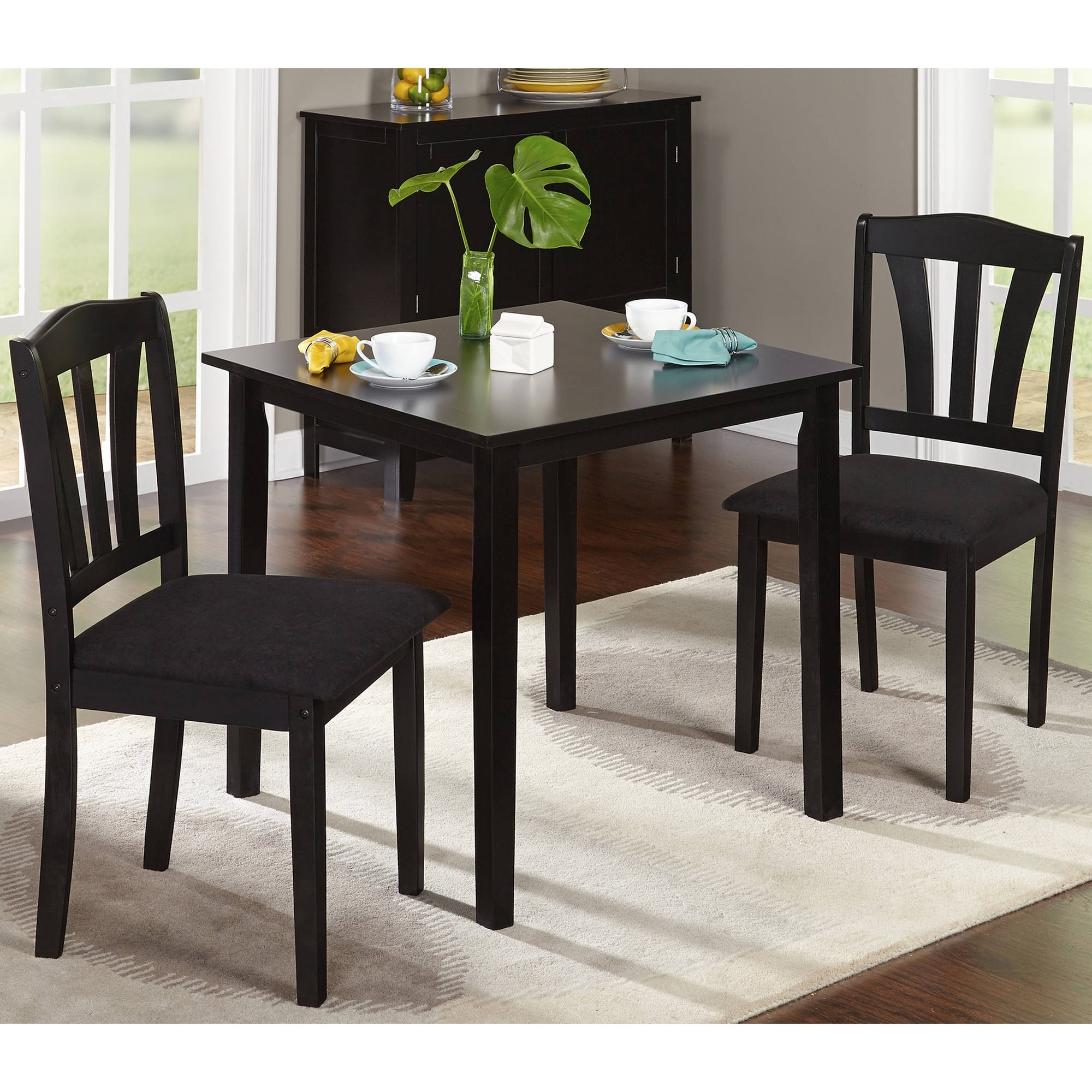 Famous Metropolitan 3 Piece Dining Set, Multiple Finishes – Walmart Pertaining To Dining Table Sets For  (View 16 of 25)