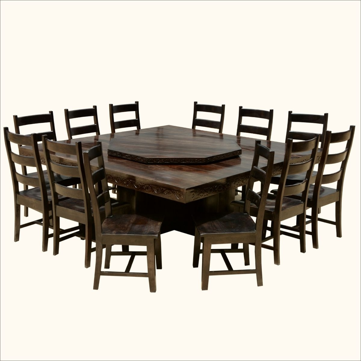 Famous Modern Pioneer Solid Wood Lazy Susan Pedestal Dining Table & Chair In Laurent 7 Piece Rectangle Dining Sets With Wood And Host Chairs (View 11 of 25)
