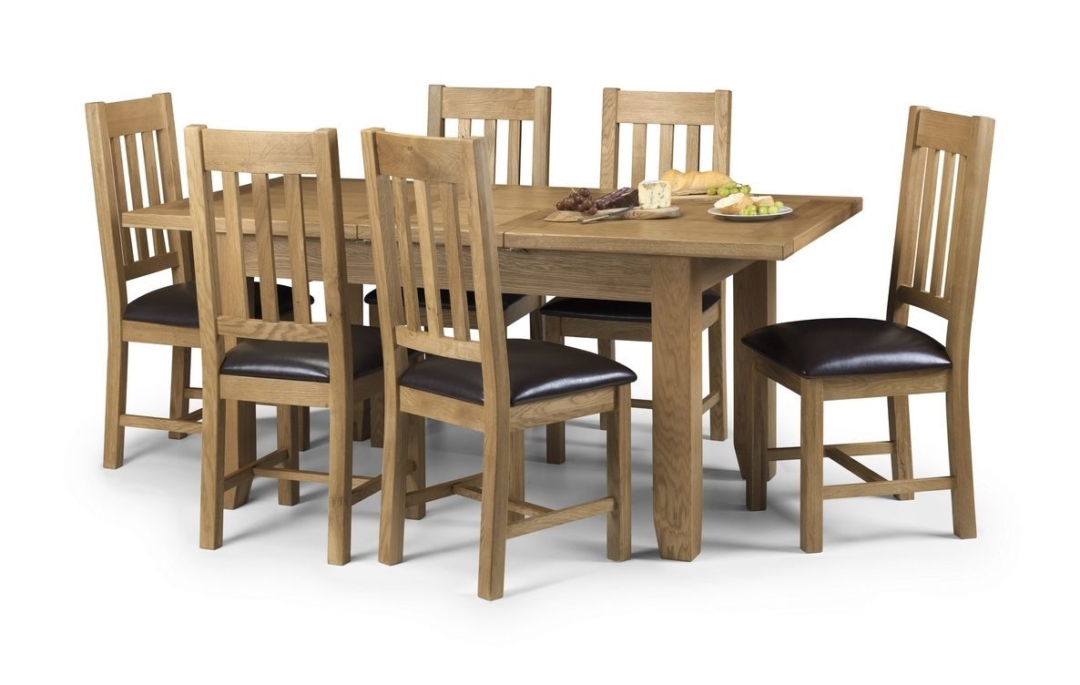 Famous Oak Dining Set 6 Chairs With Regard To Julian Bowen Astoria Extending Oak Dining Table And Chairs £ (View 21 of 25)
