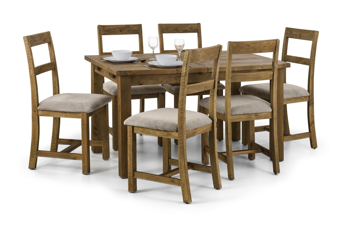 Famous Oak Dining Tables And Chairs Regarding Sierra Rough Sawn Pine Extending Dining Table And Chairs (View 4 of 25)