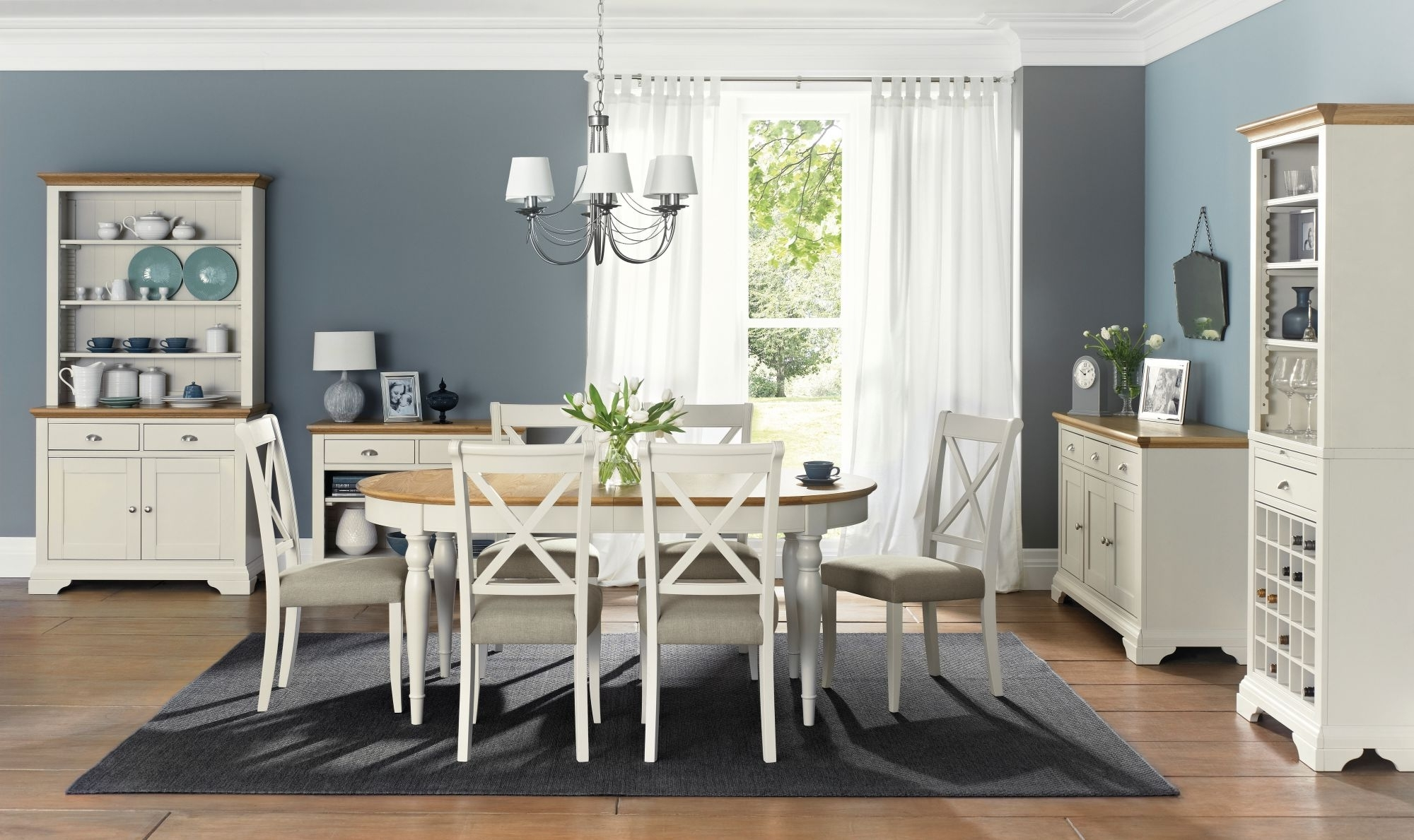 Famous Oak Dining Tables And Fabric Chairs Throughout Bentley Designs Hampstead Soft Grey And Oak 6 8 Extension Dining (View 8 of 25)