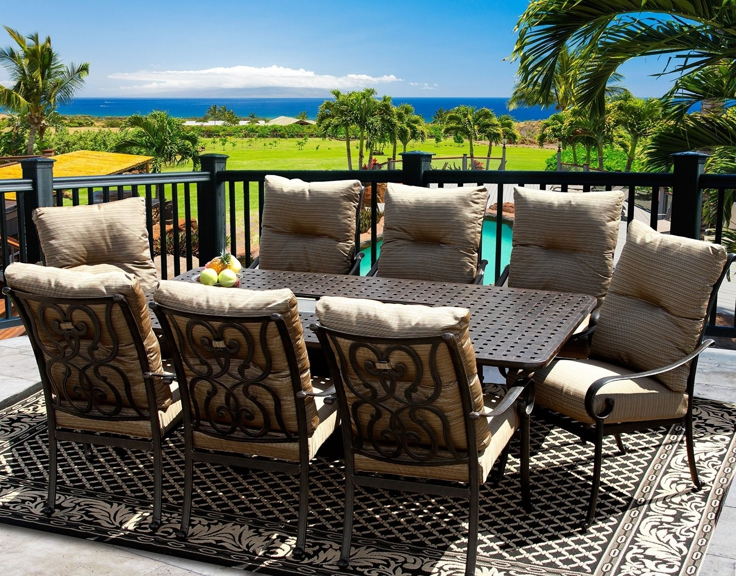Famous Outdoor Tortuga Dining Tables With Tortuga 42X84 Rectangle Outdoor Patio 9Pc Dining Set For 8 Person (View 15 of 25)