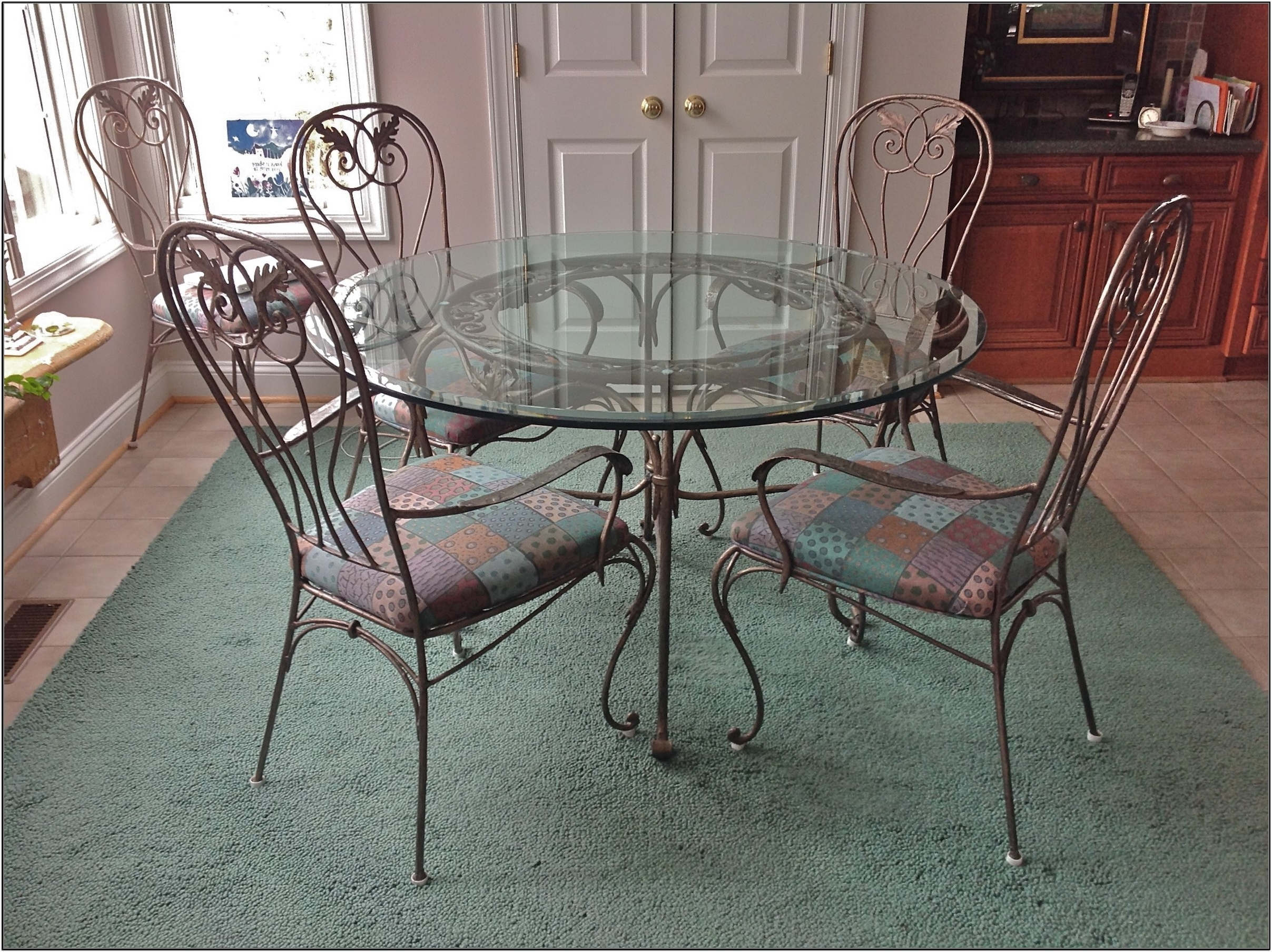 Famous Retro Glass Dining Tables And Chairs Throughout Retro Bronze Wrought Iron Dining Table Using Round Clear Glass Table (View 7 of 25)