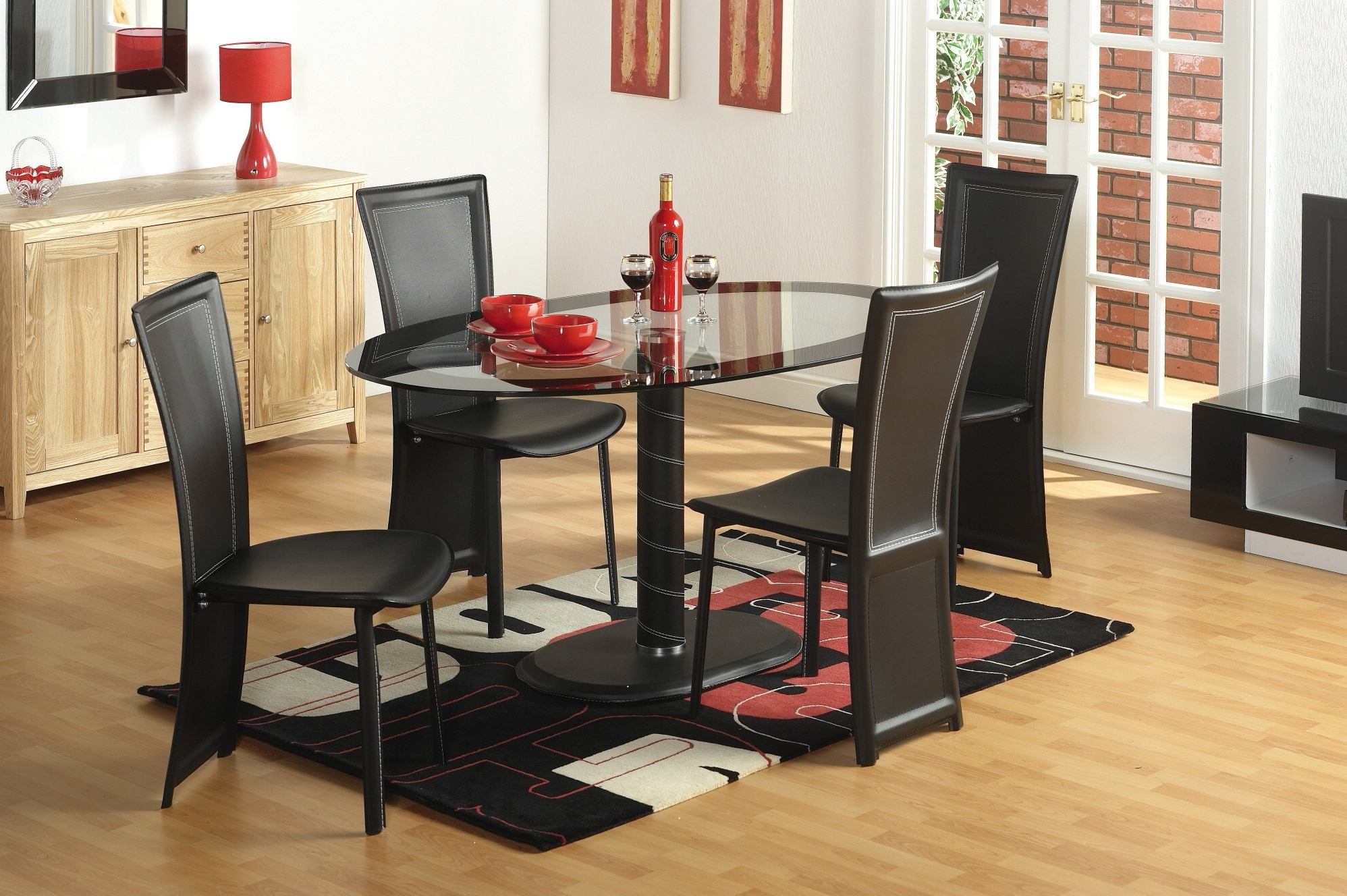 Famous Round Black Glass Dining Tables And 4 Chairs In Glass Table & 4 Chairs : Tbs Discount Furniture, A Large Selection (View 19 of 25)