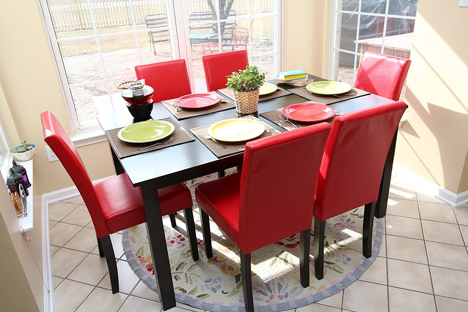Famous Satisfying Red Dining Room Set – Esescatrina Intended For Red Dining Table Sets (View 6 of 25)