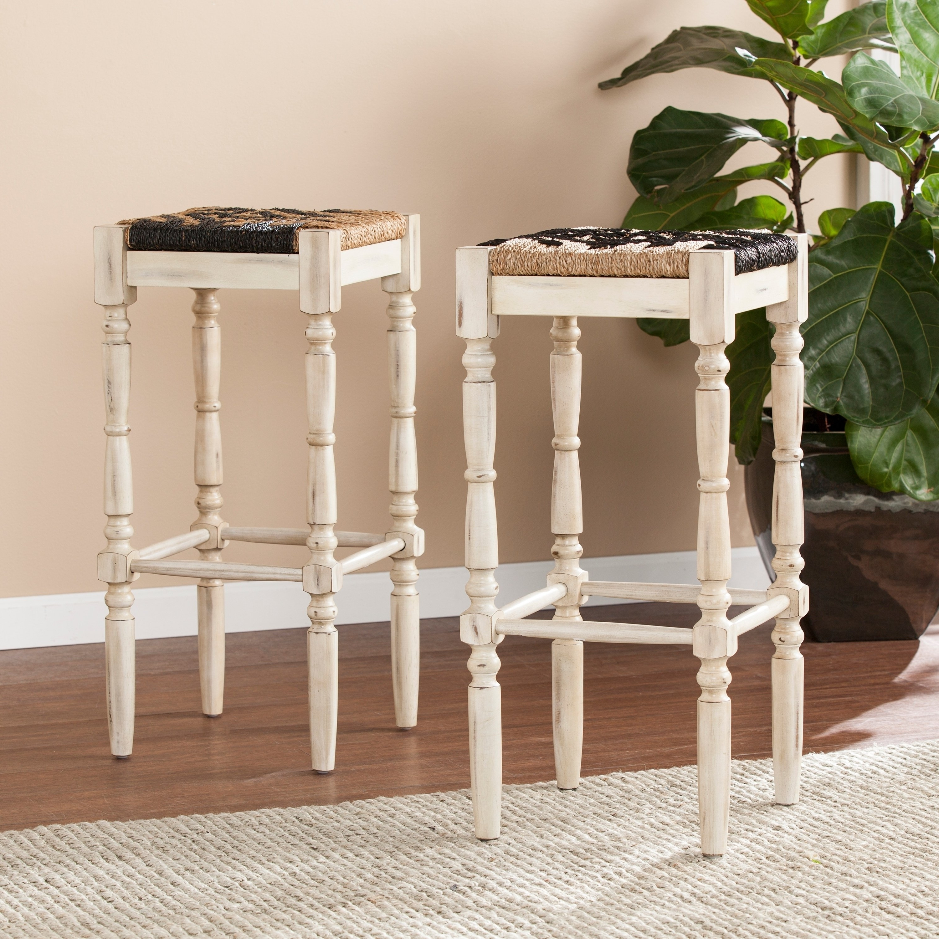 Famous Shop The Curated Nomad Belize Backlass Square Seagrass Barstool (Set With Regard To Harper 5 Piece Counter Sets (View 7 of 25)