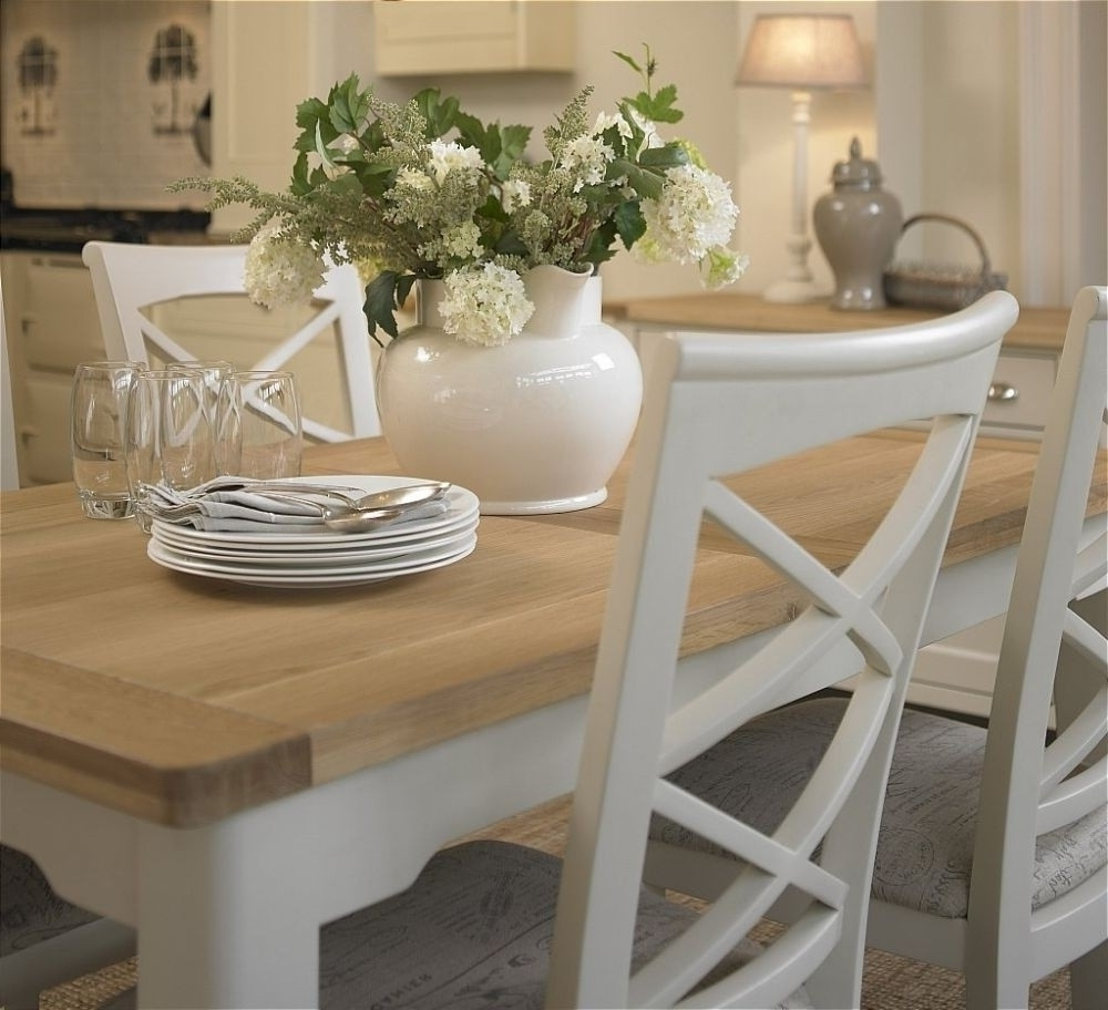 Famous Small Extending Dining Tables And Chairs With Regard To Cottage Oak And Painted Small Extending Dining Table Oak In (View 5 of 25)