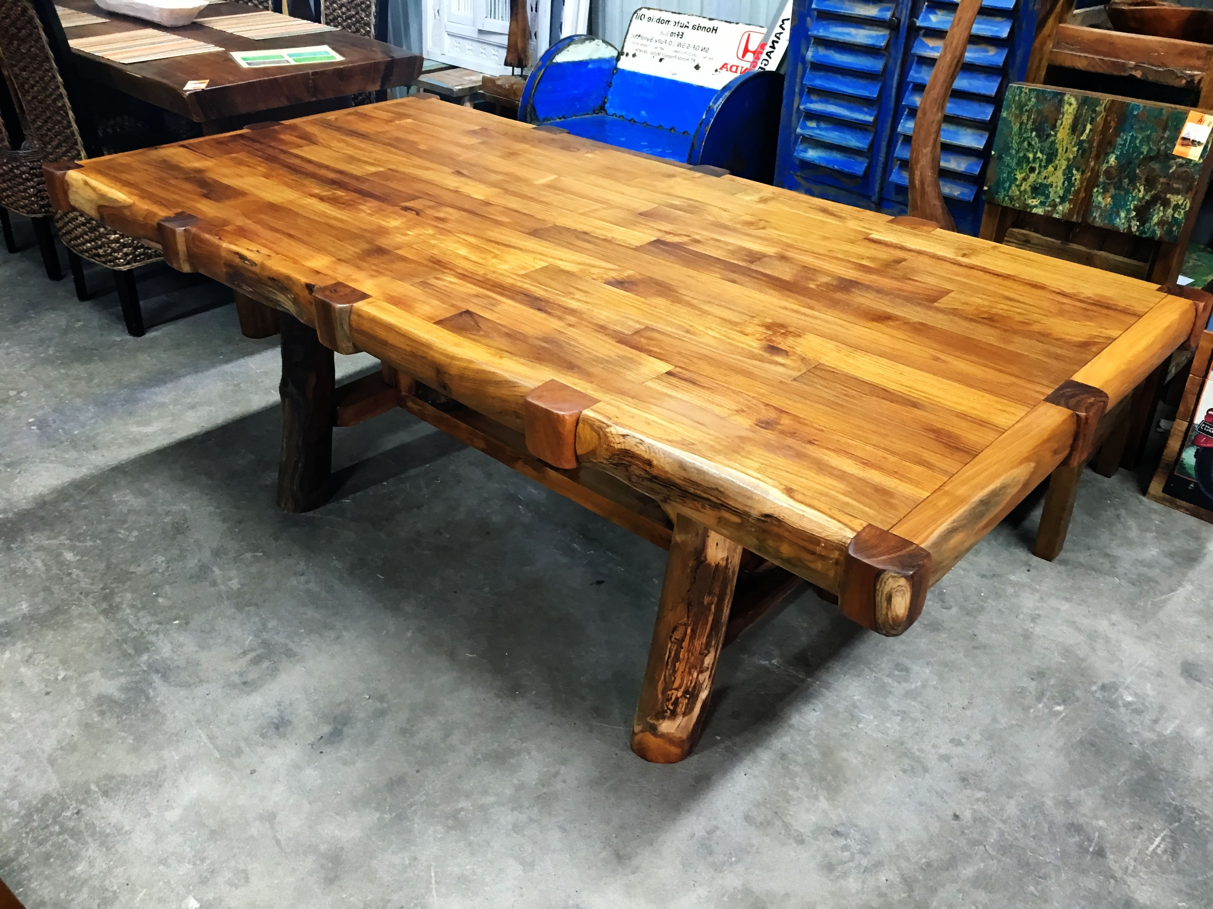 Famous Solid Teak Parquet Dining Table – Branch Style Legs Pertaining To Parquet Dining Tables (View 5 of 25)