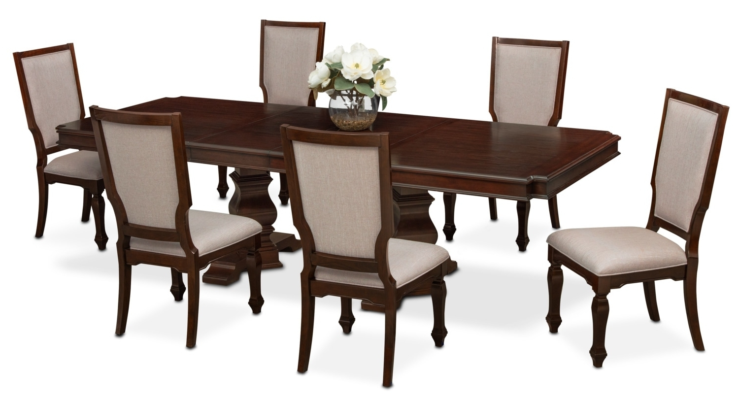 Famous Vienna Dining Tables Intended For Vienna Dining Table And 6 Upholstered Side Chairs – Merlot (View 2 of 25)