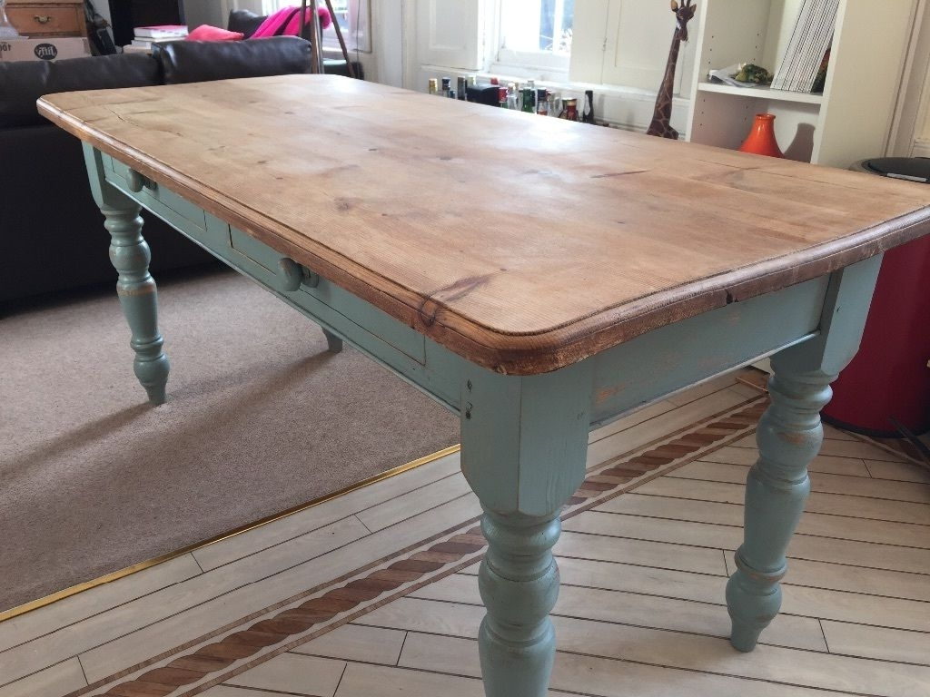 Famous Vintage Rustic Farmhouse Pine (Oak Effect) Dining Table With Duck Inside Blue Dining Tables (View 21 of 25)