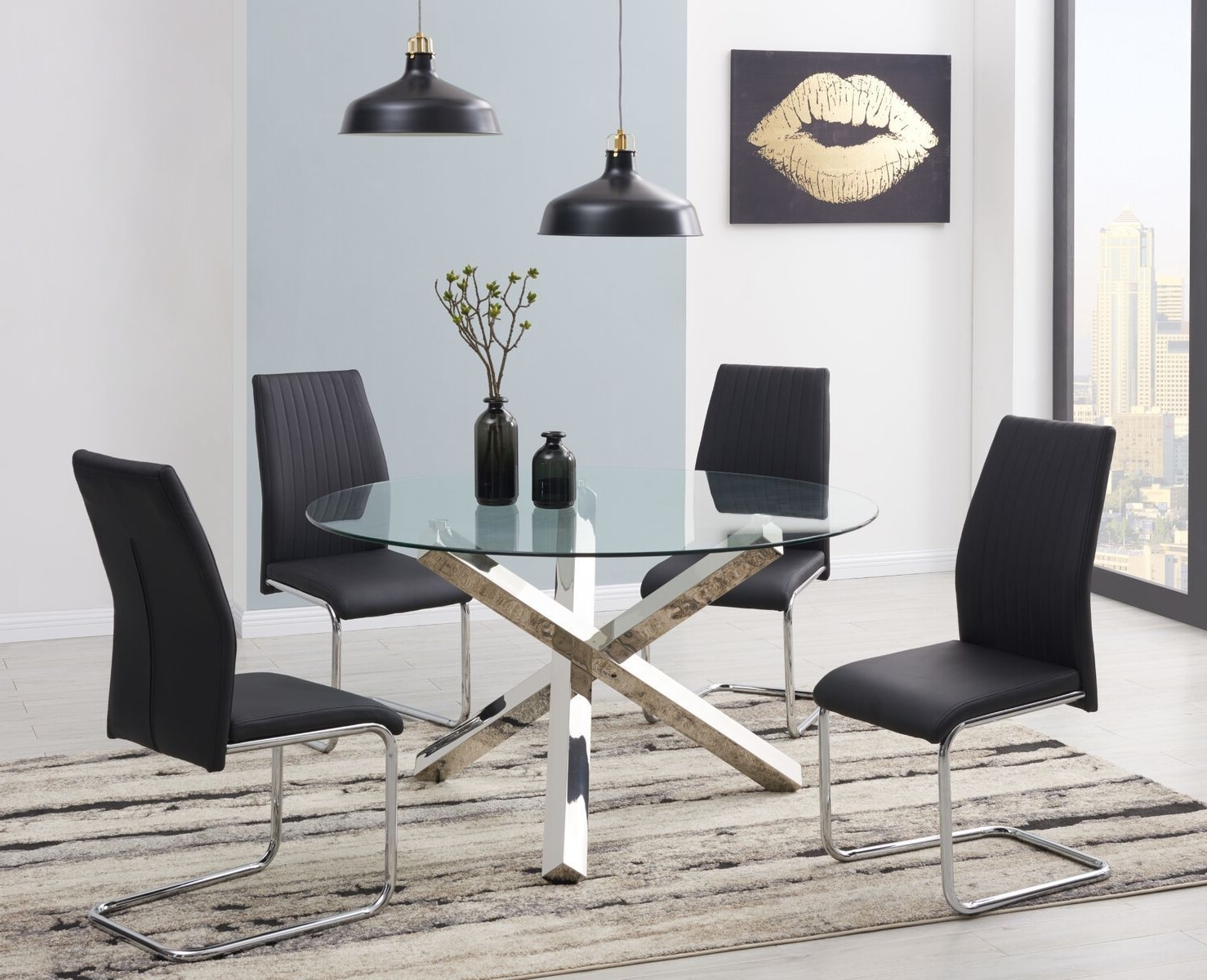 Famous Vogue Large Round Chrome Clear Glass 4 6 Seater Dining Table And With Regard To Round 6 Seater Dining Tables (View 7 of 25)