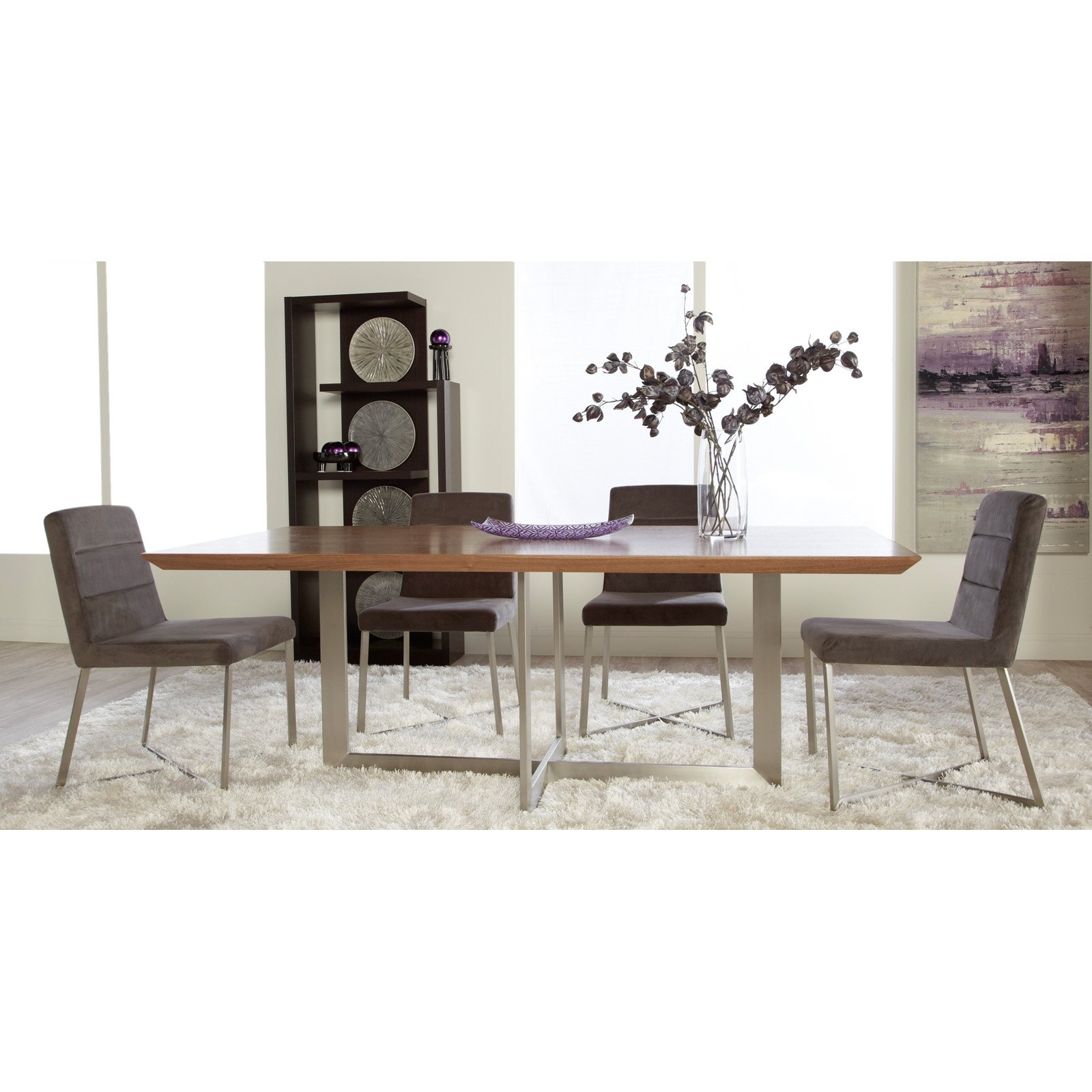Famous Walnut Dining Tables And Chairs Regarding Euro Style Tosca 5 Piece Walnut Dining Table Set – Tosca Grey Chairs (View 5 of 25)