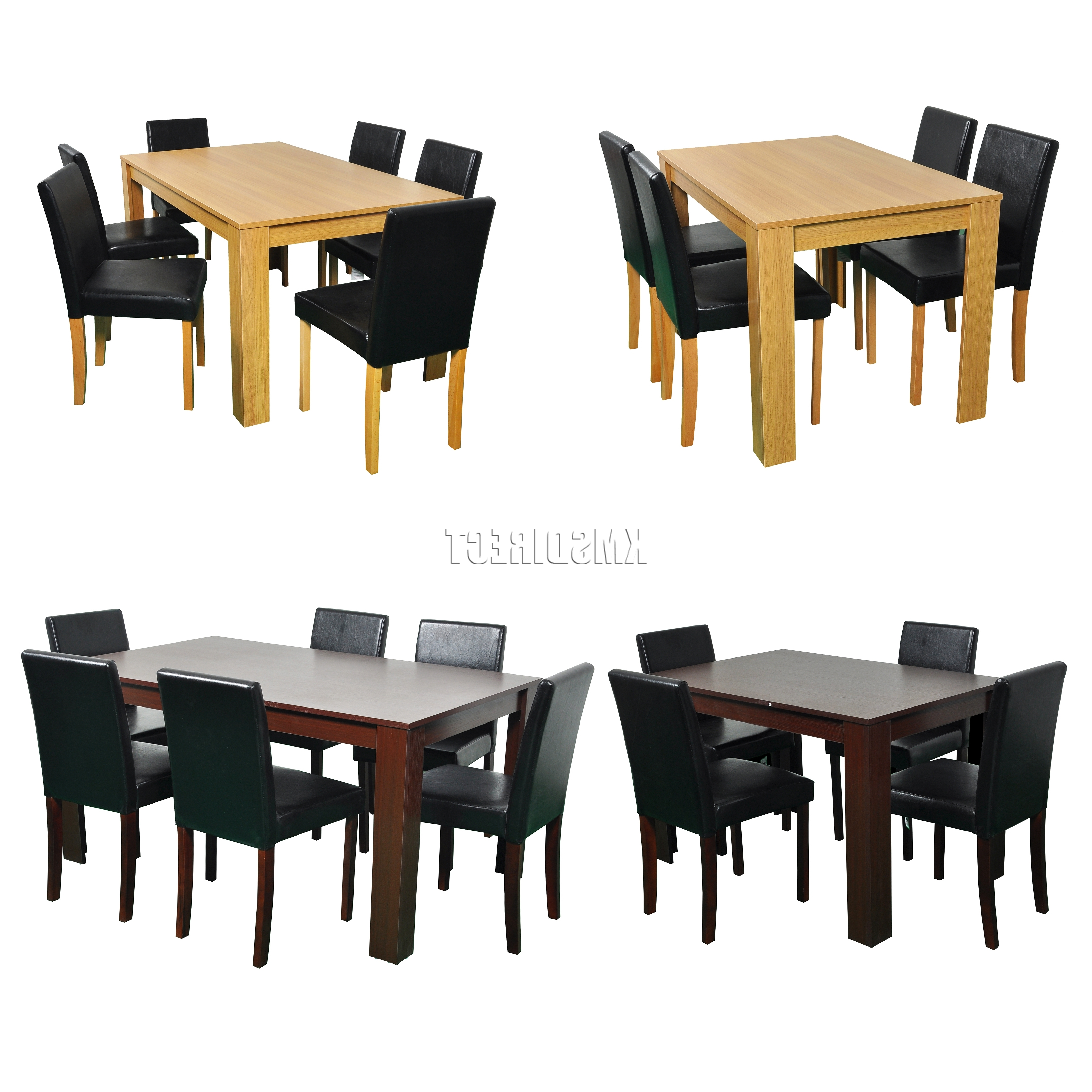 Famous Westwood Wooden Dining Table And 4 Or 6 Pu Faux Leather Chairs Set Regarding Wooden Dining Sets (View 17 of 25)