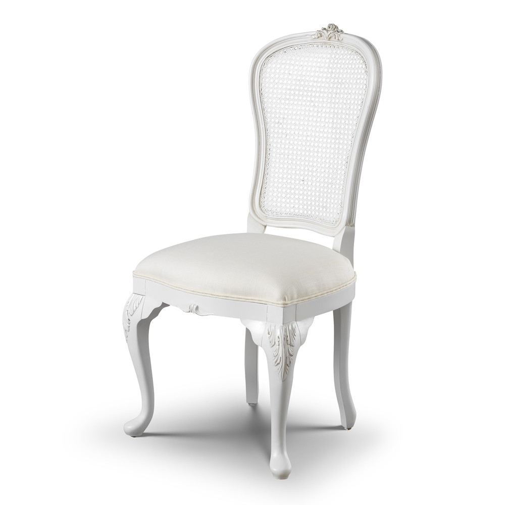 Famous White Dining Chairs Pertaining To Beaulieu Rattan Back French Dining Chair (View 11 of 25)