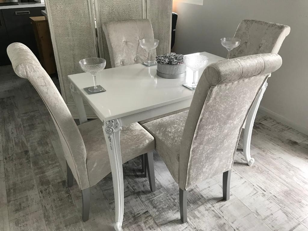 Famous White Gloss Dining Table With 4 Silver Crushed Velvet Chairs (View 25 of 25)