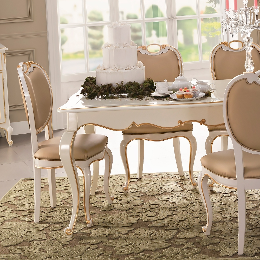 Famous White Gloss Dining Tables Sets With Regard To Square Louis Reproduction White Dining Table Set (View 25 of 25)