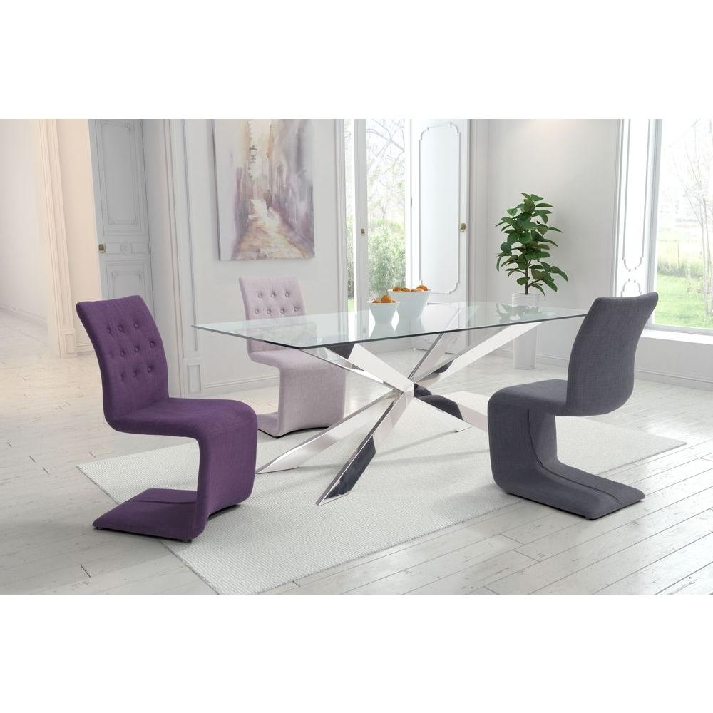 Famous Zuo Hyper Beige Polyblend Dining Chair (Set Of 2) 100286 – The Home For Dining Tables And Purple Chairs (View 14 of 25)