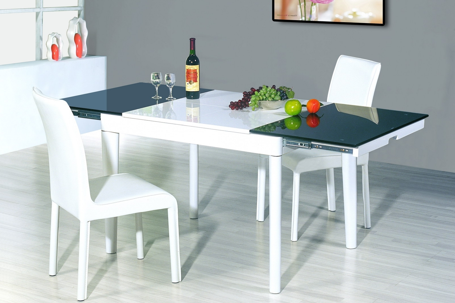 Fancy Futuristic Modern Kitchen Table Set With Expandable Top And Inside Favorite Small Extendable Dining Table Sets (View 6 of 25)