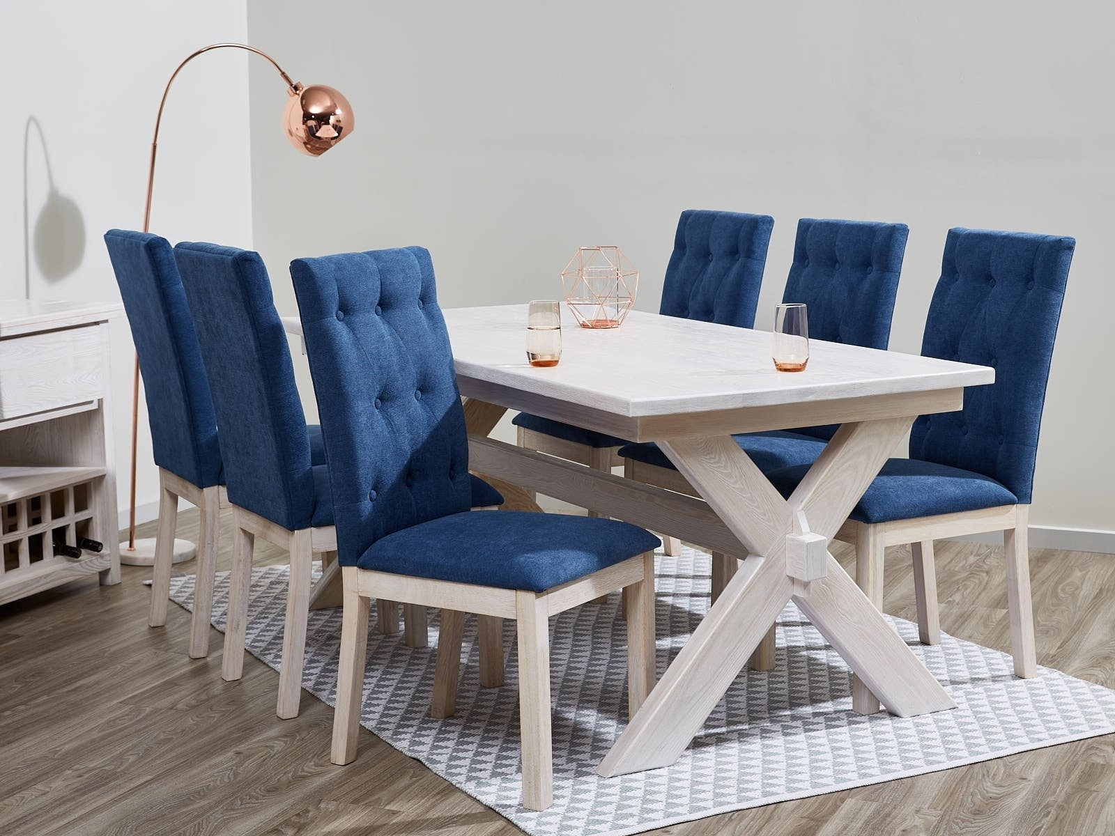 Fantastic Dining Sets On Sale With Upholstered Chairs & Whitewash Intended For Well Known Blue Dining Tables (View 13 of 25)