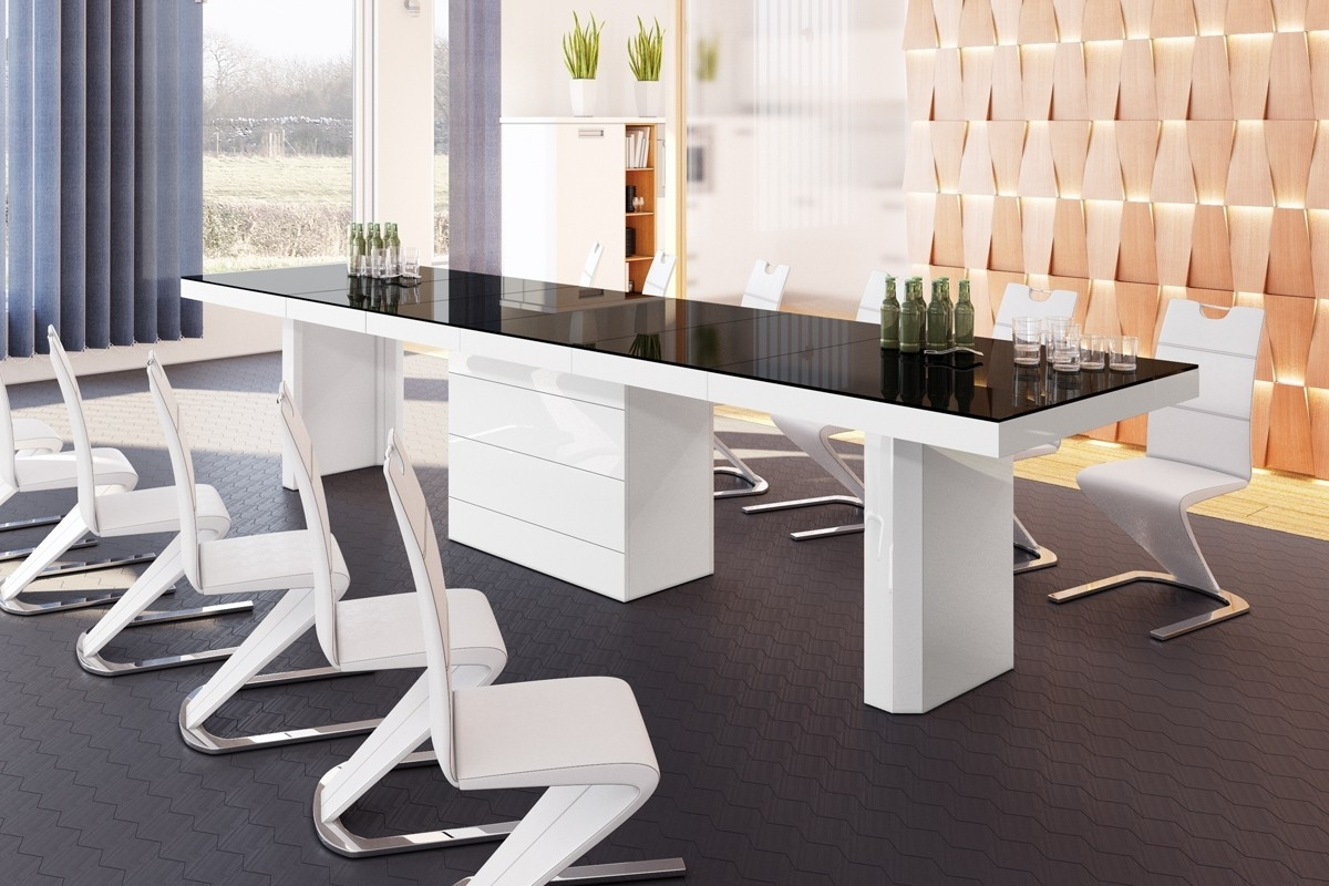 Fashionable 10 Seat Dining Tables And Chairs Intended For Buy 10, 12, 14, 16 18 Seater Extendable White / Black Dining Table 412Cm (View 12 of 25)