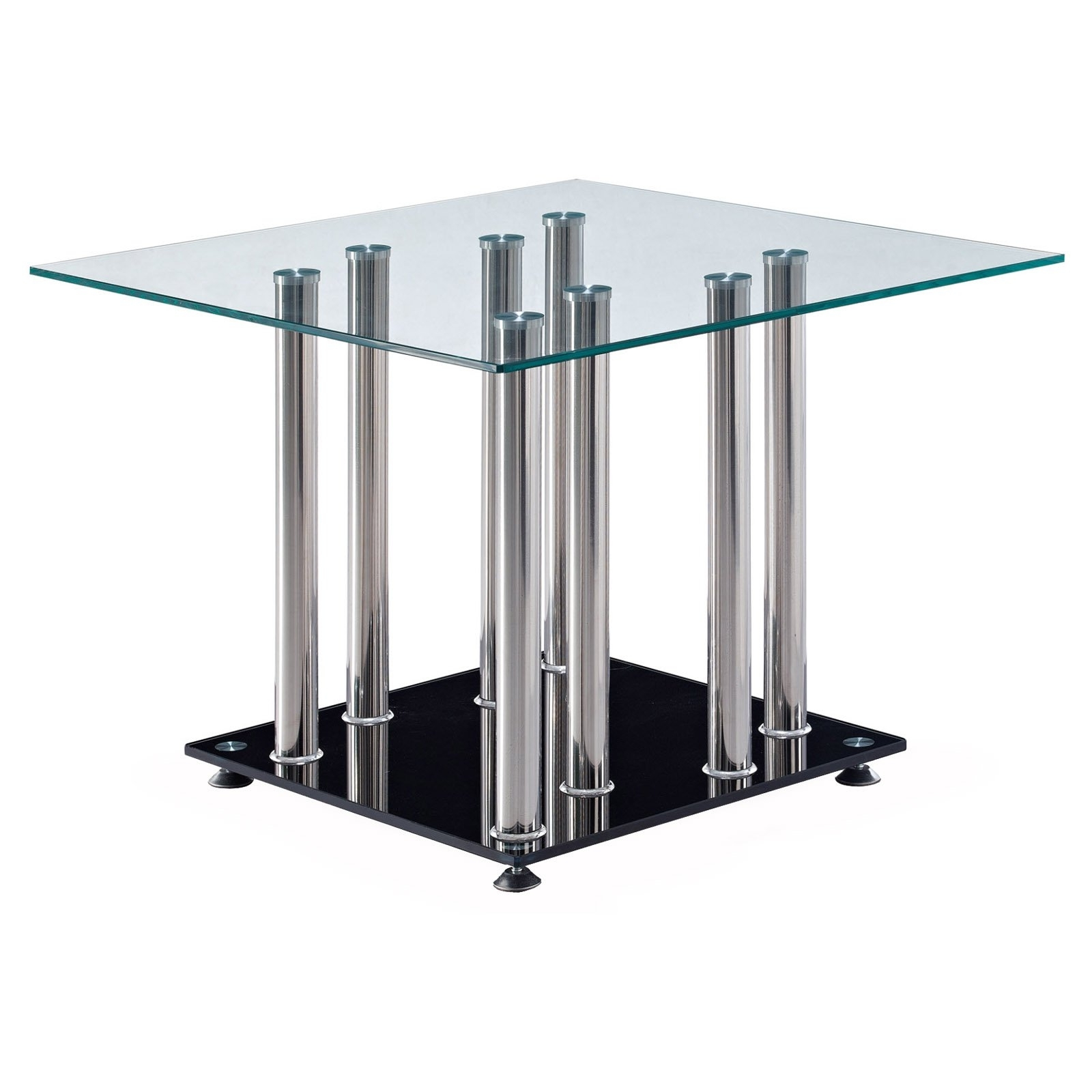 Fashionable 8 Stainless Steel Pipe Dining Table Legs With Square Glass Table Top Pertaining To Square Black Glass Dining Tables (View 5 of 25)