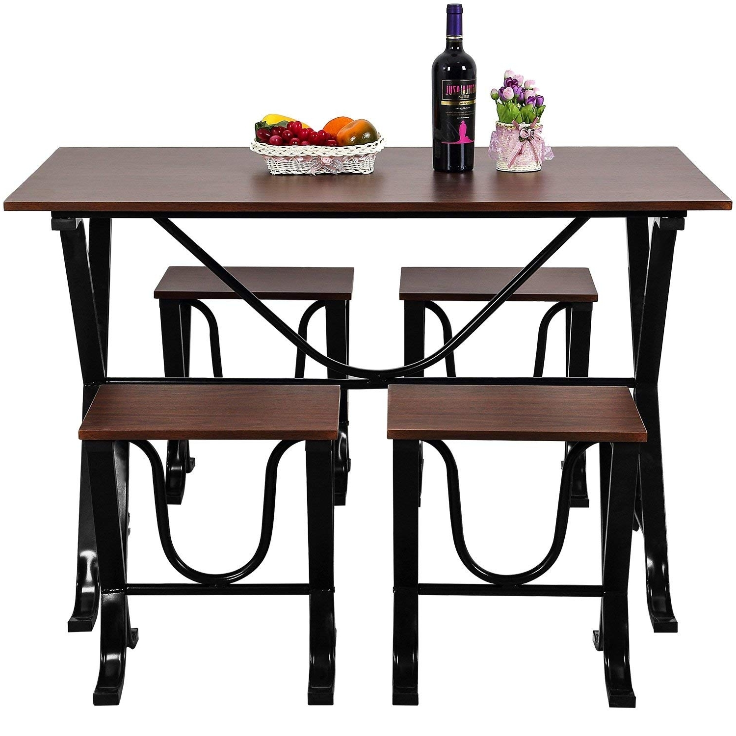 Fashionable Amazon – Harper & Bright Designs 5 Piece Dining Set Home In Harper 5 Piece Counter Sets (View 22 of 25)