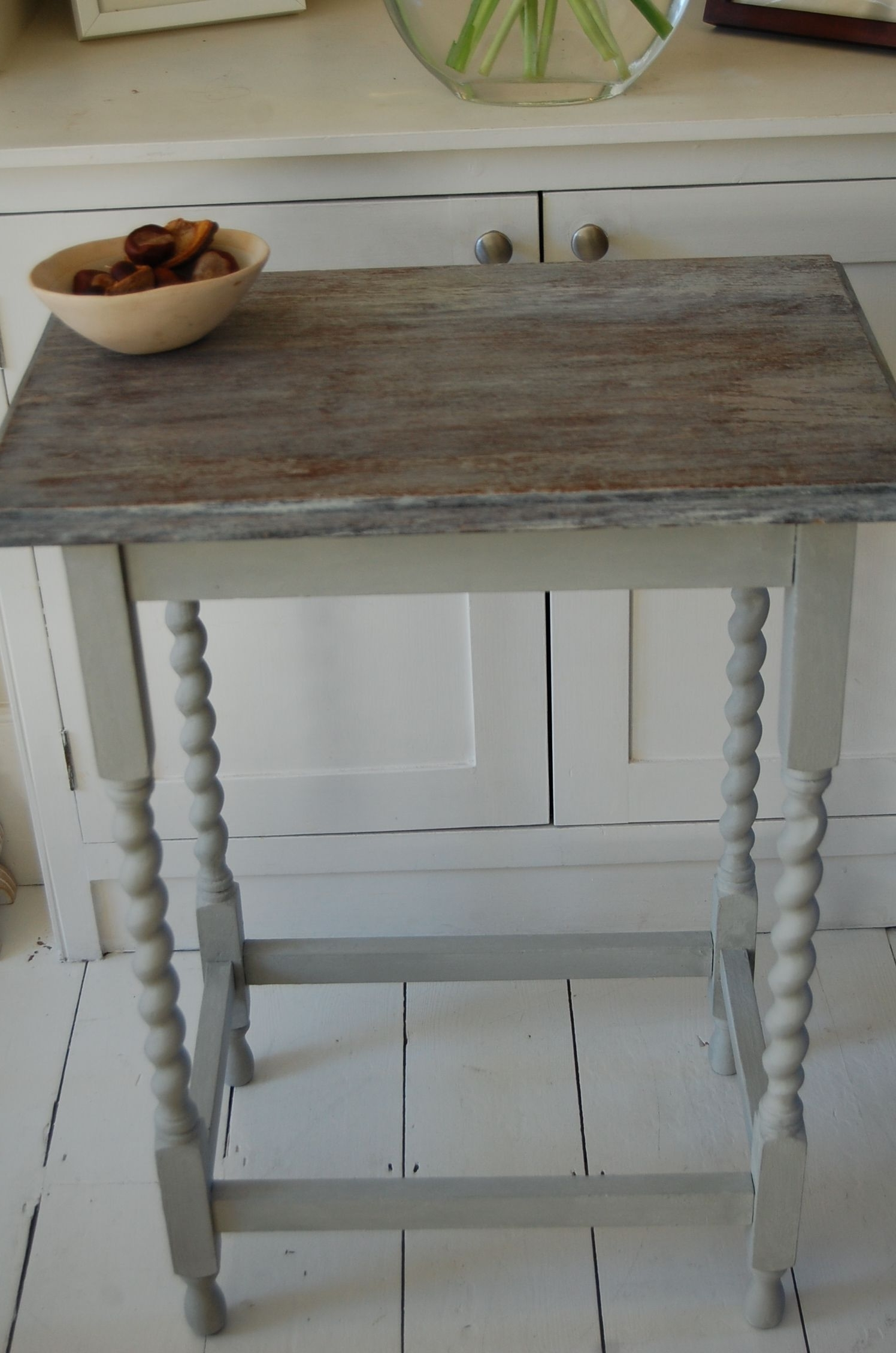 Fashionable Annie Sloan, Paris Grey, Limed, Stripped, Barley Twist Legs, Side Intended For Washed Old Oak & Waxed Black Legs Bar Tables (View 4 of 25)