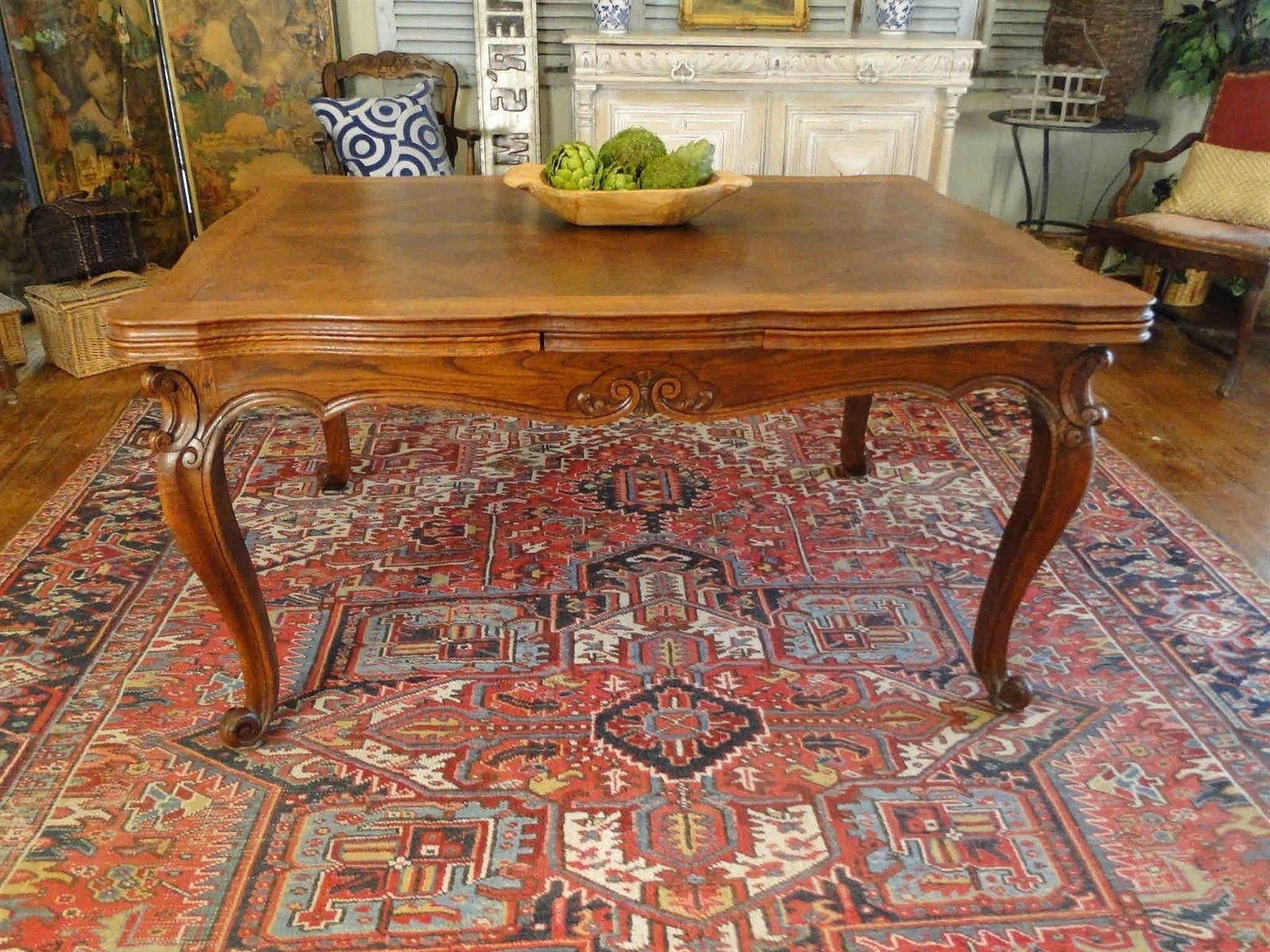 Fashionable Antique French Country Oak Dining Table With Draw Leaf And Lovely Regarding Parquet Dining Tables (View 7 of 25)